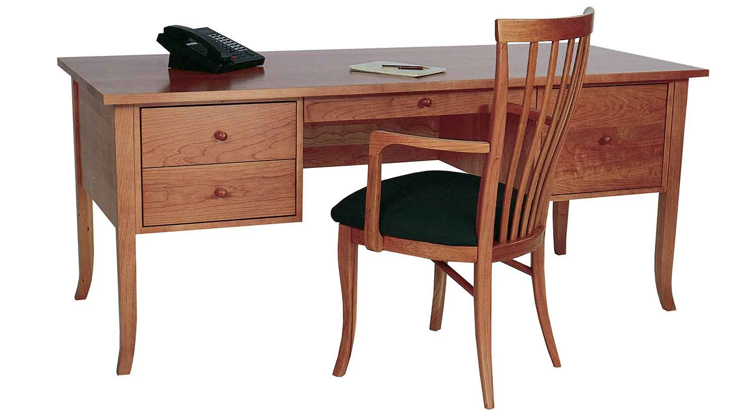 Amazing Brown Wood Desk Set  Classic Paneled Home Office Furniture Collection