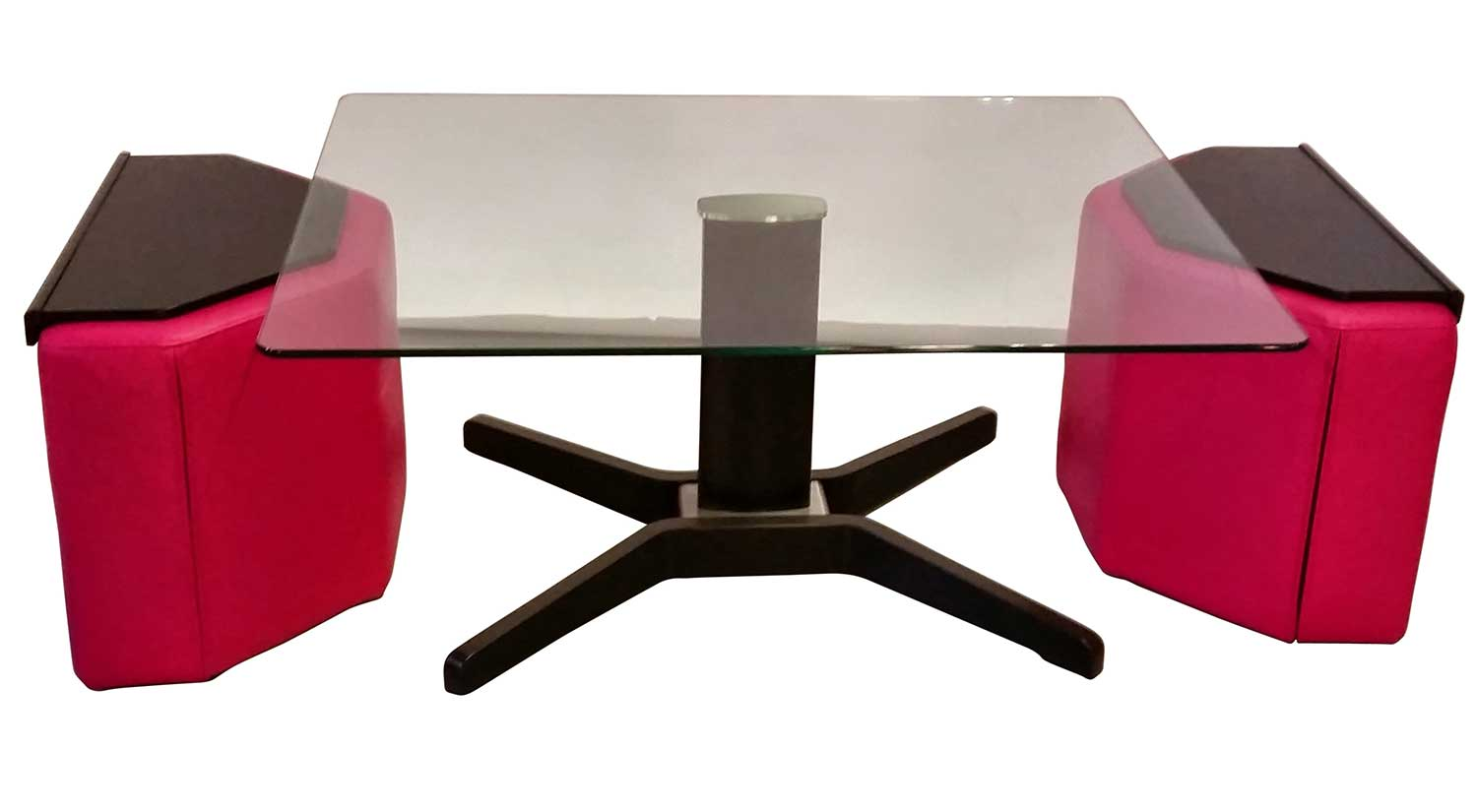 Duo Table And Ottomans In Cerise