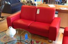 Space Stressless Red Lowback Loveseat