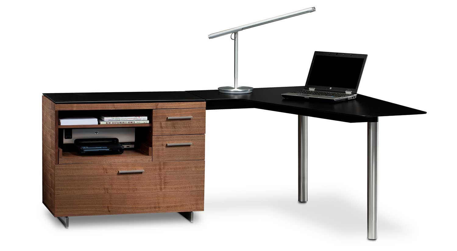 Sequel Peninsula Desk With Multifunction Cabinet