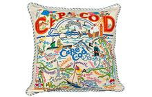 Cape Cod Hand-Embroidered Pillow