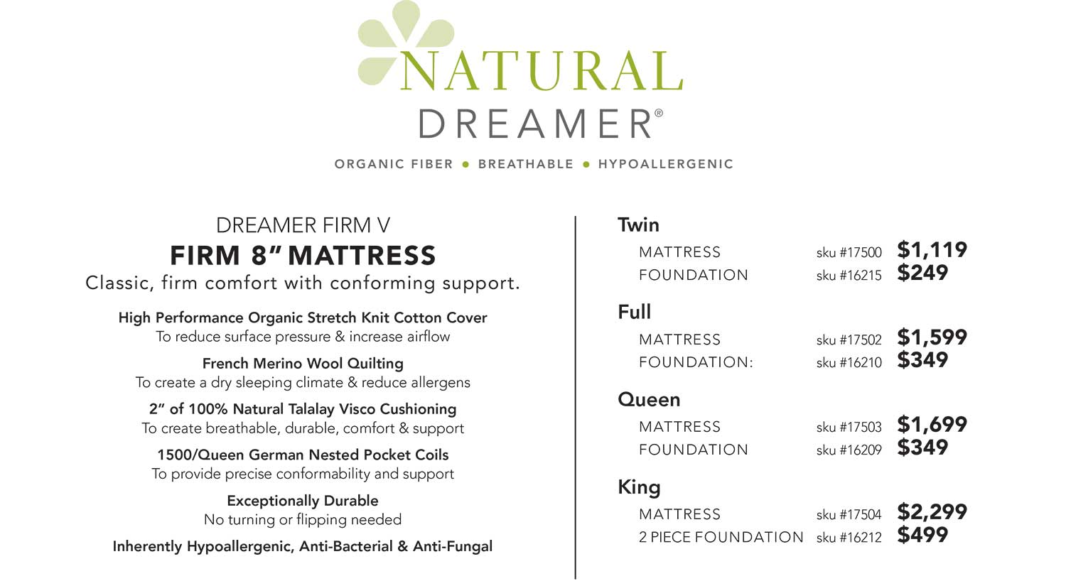 Natural Dreamer Visco Mattress