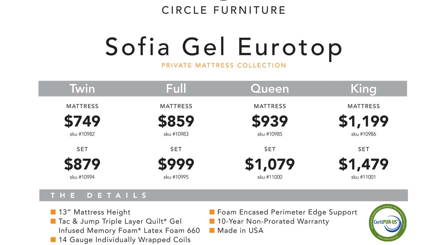 Sofia Gel EuroTop Mattress