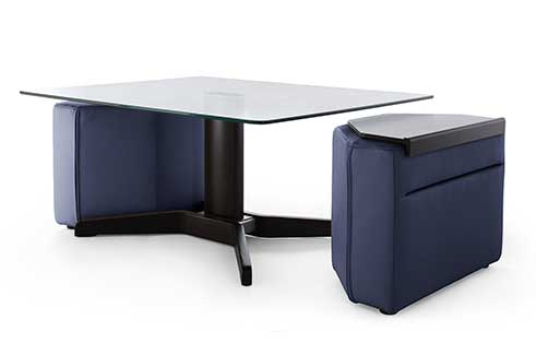 Duo Table and Ottomans