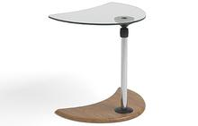 Alpha Side Table with Glass Top and Teak Base