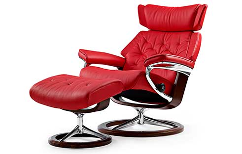 Skyline Stressless Chair and Ottoman Signature
