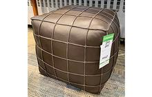 Leather Pouf in Brown