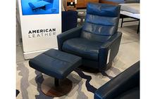 Cirrus Comfort Air Large Chair & Ottoman in Bison Deep Blue
