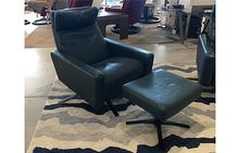 Cumulus Comfort Air Chair & Ottoman in Bison Deep Blue