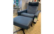 Cumulus Standard Comfort Air Chair and Ottoman in Bison Deep Blue