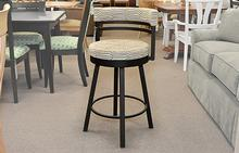 Ronny Swivel Counter Stool in Coffee Stripe