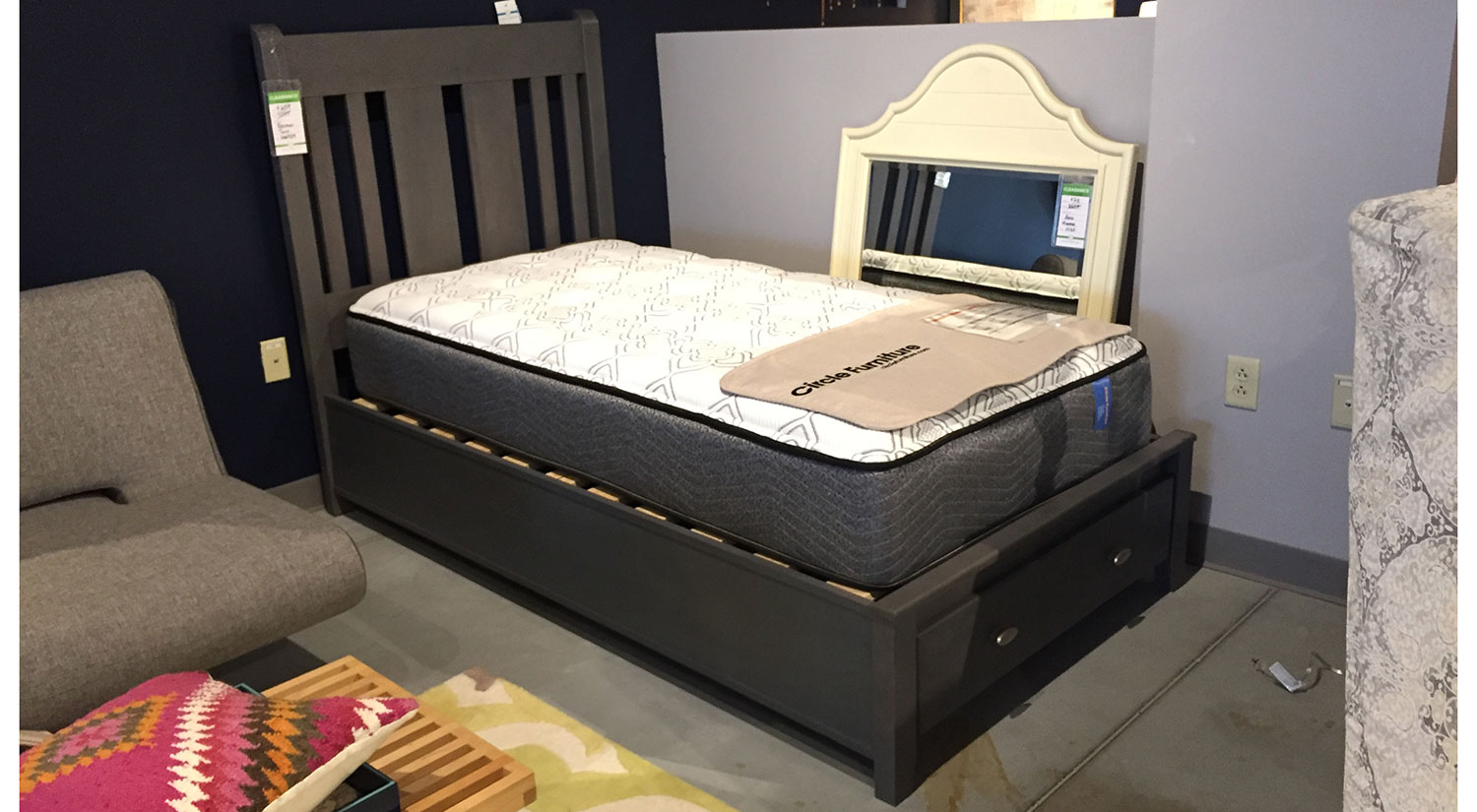 Rossport Twin Storage  Bed in Storm Grey