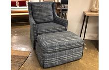 Kate Swivel Chair and Ottoman in Border Line Indigo