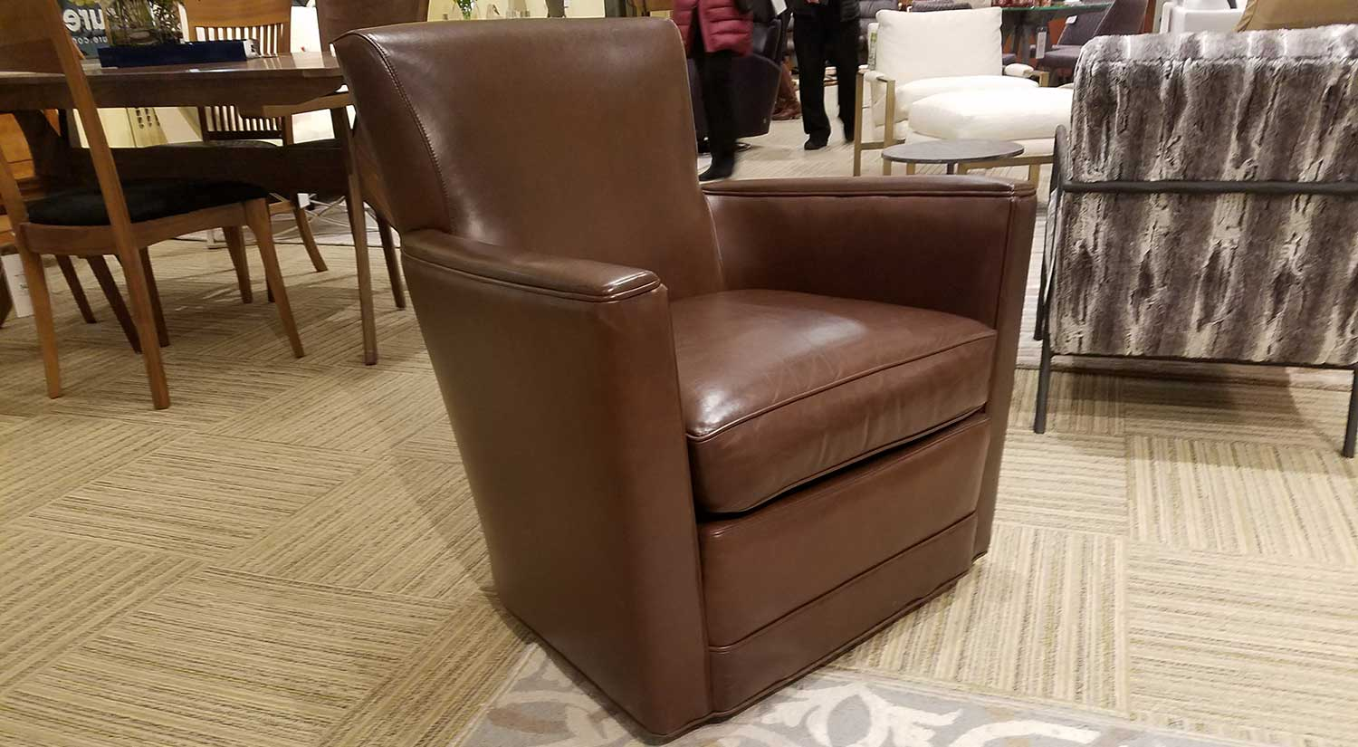 Trent Swivel Chair in Brown Leather
