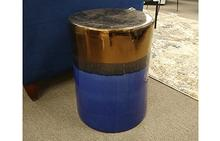 Trixie Stool in Blue & Gold