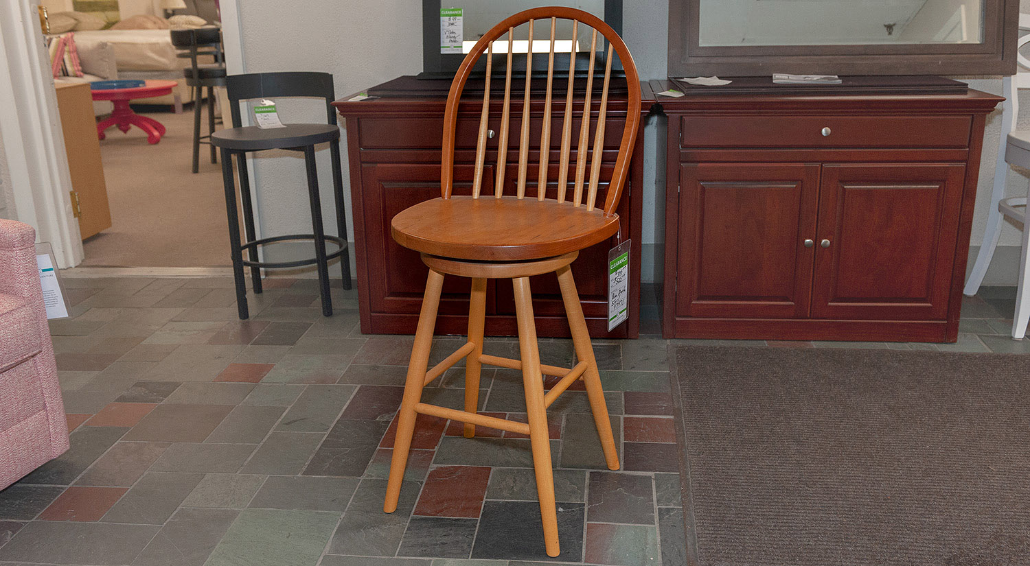 Bow Back Bar Stool in Cherry