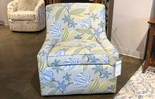 Linda Swivel Chair in Floral Blue