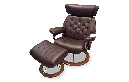 Skyline Stressless Chair and Ottoman in Chocolate