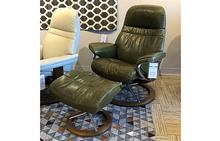 Sunrise Medium Stressless Chair and Otto in Pioneer Green
