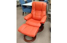 Mayfair Medium Stressless Chair and Ottoman in Paloma Henna