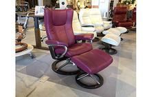 Wing Medium Stressless Chair and Ottoman Signature in Beet Red