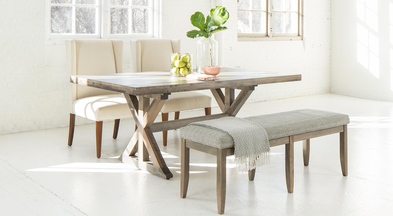 Circle Furniture Saber Leg Bench Upholstered Dining Bench