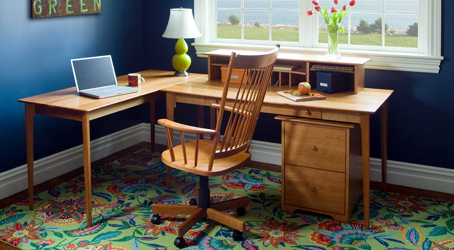 home office, desk, office chair, interior design, file cabinet, bookcase
